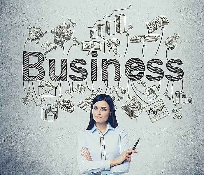A woman business owner is standing in front of a wall that identifies all of the things associated with running a business.